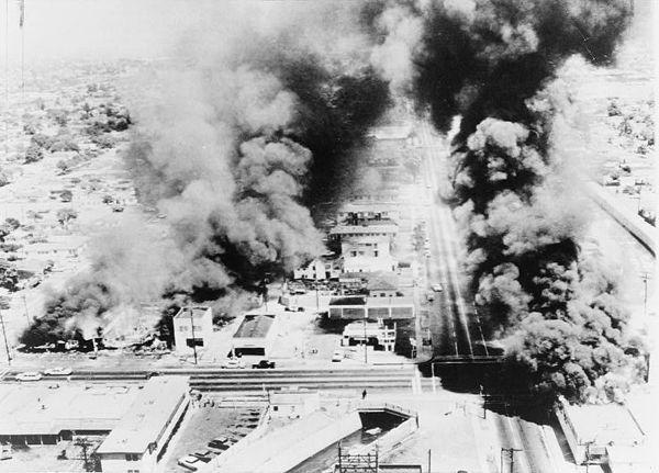 Aerial view of damage caused by the Watts Riots.